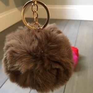 Brown Pom Pom Keychain